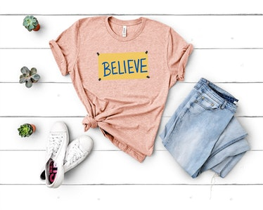 """This """"Believe"""" shirt is part of the many 'Ted Lasso' shirts on Etsy that fans should check out."""