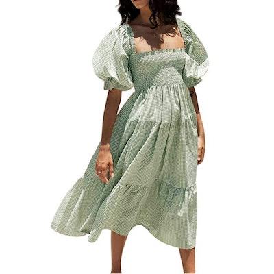 R.Vivimos Puff Sleeve Midi Dress