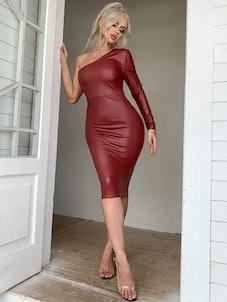 Eilly Bazar One Shoulder Leather Look Bodycon Dress