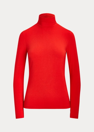 red jersey knit turtle neck from ralph lauren
