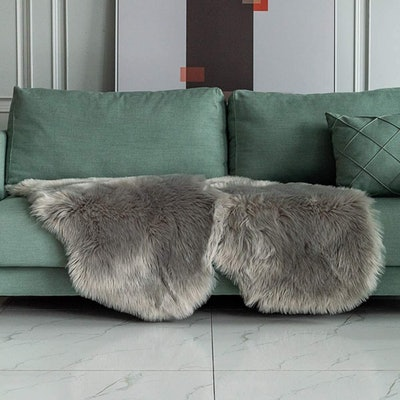 Carvapet Soft Fluffy Faux Fur Couch Cover (Set of 2)