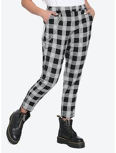 Black & White Plaid Pants With Detachable Chain