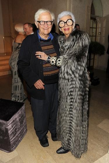 Iris Apfel wearing a long fur coat