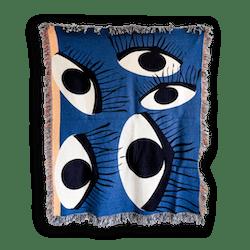 Elise Flashman Old Blue Eyes Woven Throw Blanket
