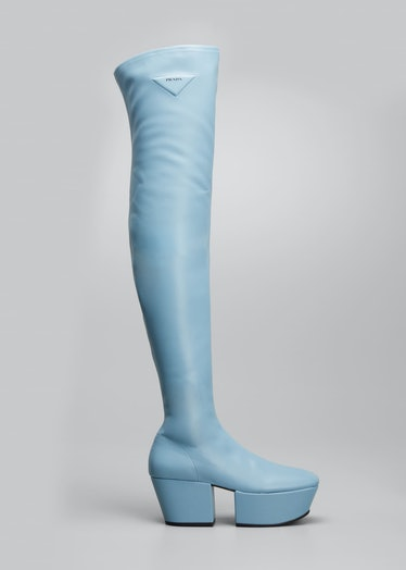 Stretch Napa Over-The Knee Platform Boots
