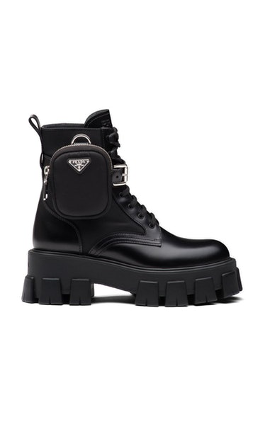 Prada Pouch-Detailed Leather Lace-Up combat Boots $1,420.00
