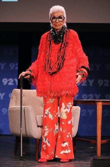 Iris Apfel wearing head-to-toe red