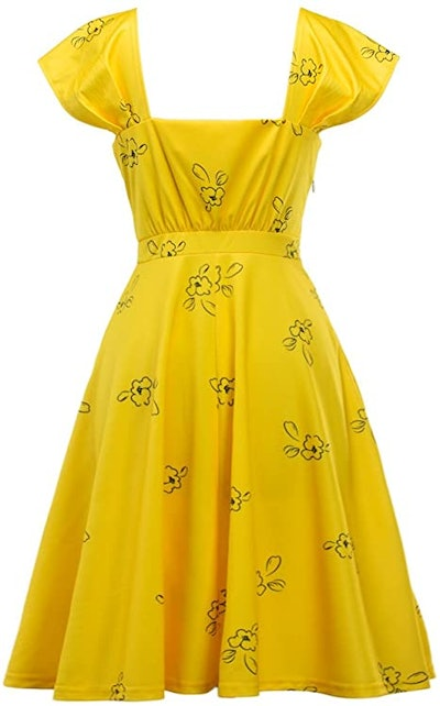 Womens Bright Yellow Cap Sleeve Lovely Cocktail Floral Party Dress