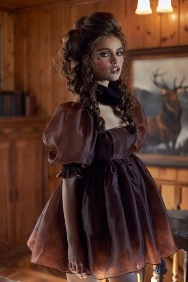 The Chocolate Lace Puff Dress Selkie