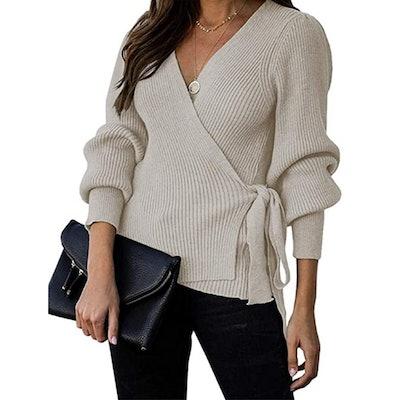 KIRUNDO Wrap Knit Top