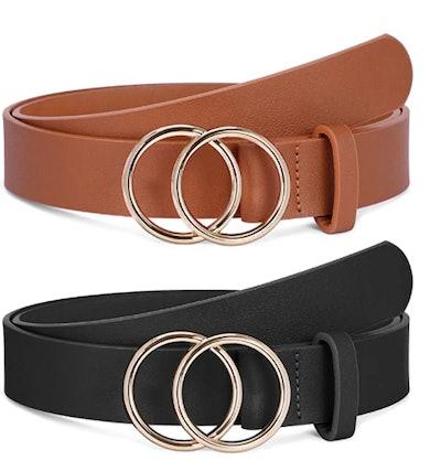 SANSTHS Faux Leather Belts (2-Pack)