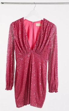 Club L London sequin plunge long sleeve mini dress in pink