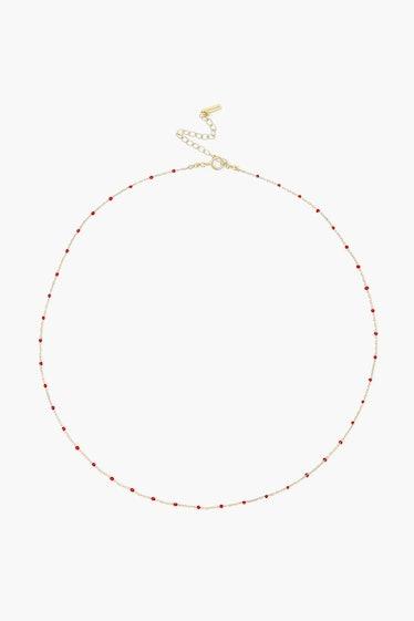 Poppy Red Enamel Bead Necklace Chan Luu