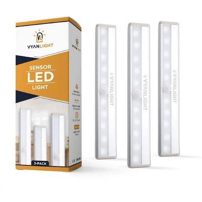 VYANLIGHT Stick-On Motion Sensor LED Lights (3 Pack)