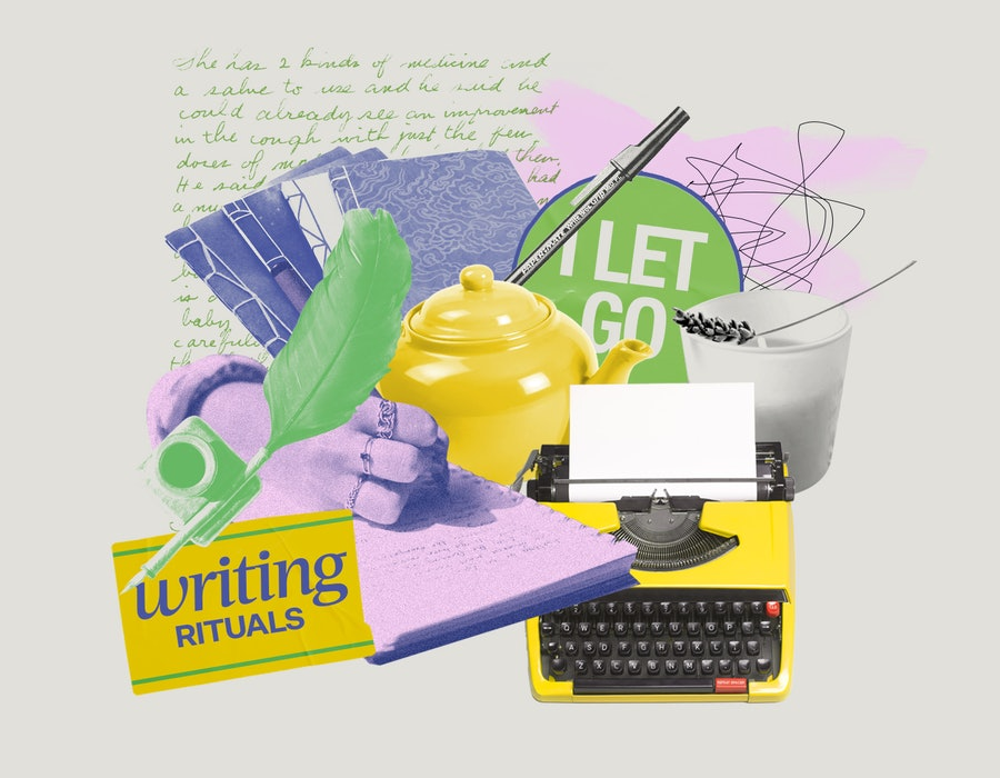 writing materials, including pen, typewriter, and quill