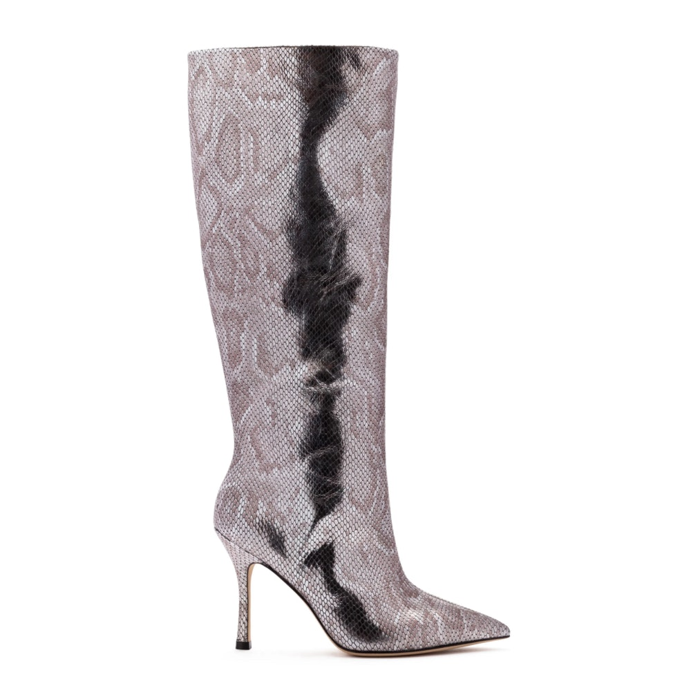 Kate Boot In Silver Metallic Stamped Leather