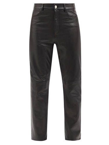 WANDLER Carnation leather cropped-leg trousers