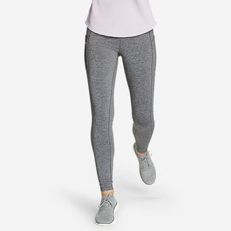 Crossover Winter Trail Adventure High-Rise Leggings in Black/White from Eddie Bauer.