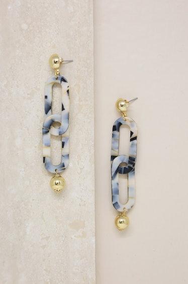 Dangle and Drop Mixed Beige Resin Earrings Ettika