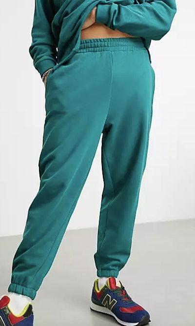 Set oversized sweatpants in green