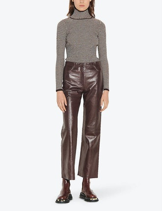 Bootcut Mid-Rise Leather Trousers