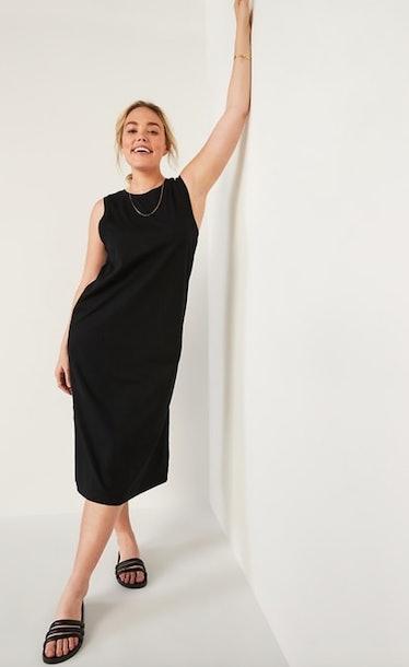Black Midi Shift Dress for Women