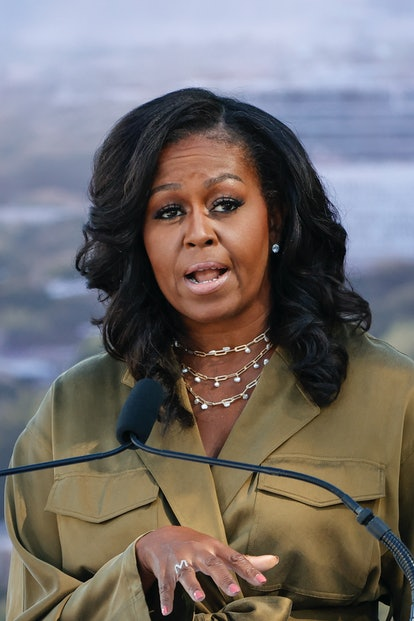 Former US First lady Michelle Obama speaks during the groundbreaking ceremony for the Obama Presiden...