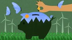 Saving money sustainably piggy bank