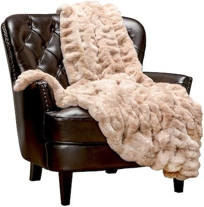Chanasya Runched Soft Faux Fur Throw Blanket