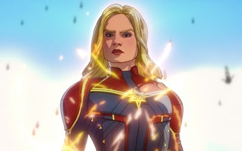 Captain Marvel shows up to stop Ultron.
