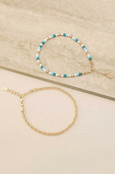 Seaside Turquoise and Pearl 18k Gold Plated Anklet Set Ettika