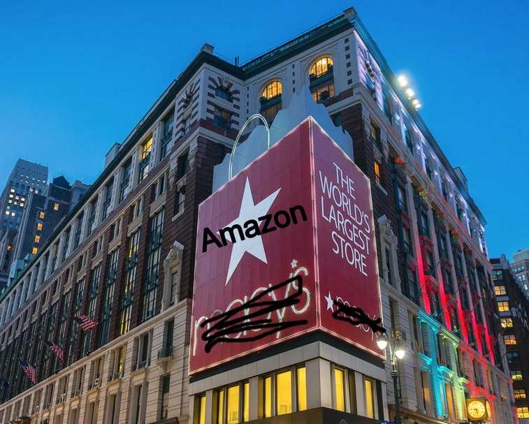 New York City, New York, USA - February 19, 2014: The exterior of Macy's Herald Square at night in N...