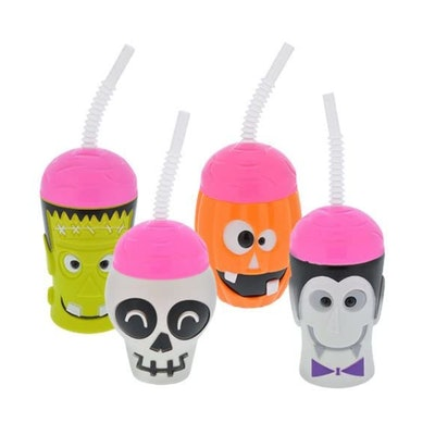 These Halloween sippy cups are perfect for serving a Halloween smoothie for babies.