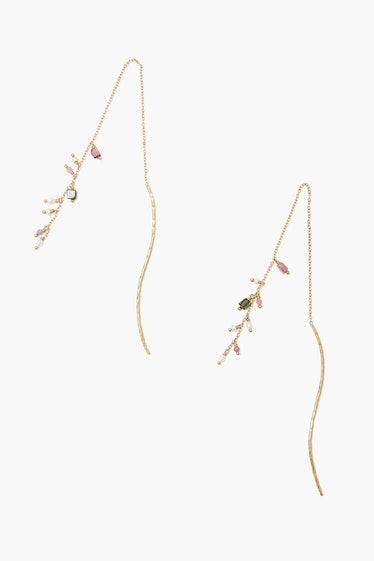 Tourmaline And Pearls Gold Thread-Thru Earrings