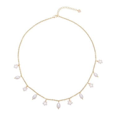Flora Pearl Chain Necklace by House of Elliott