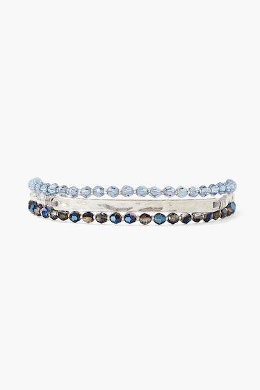 Denim Blue Crystal And Silver Bar Naked Wrap Bracelet  Chan Luu