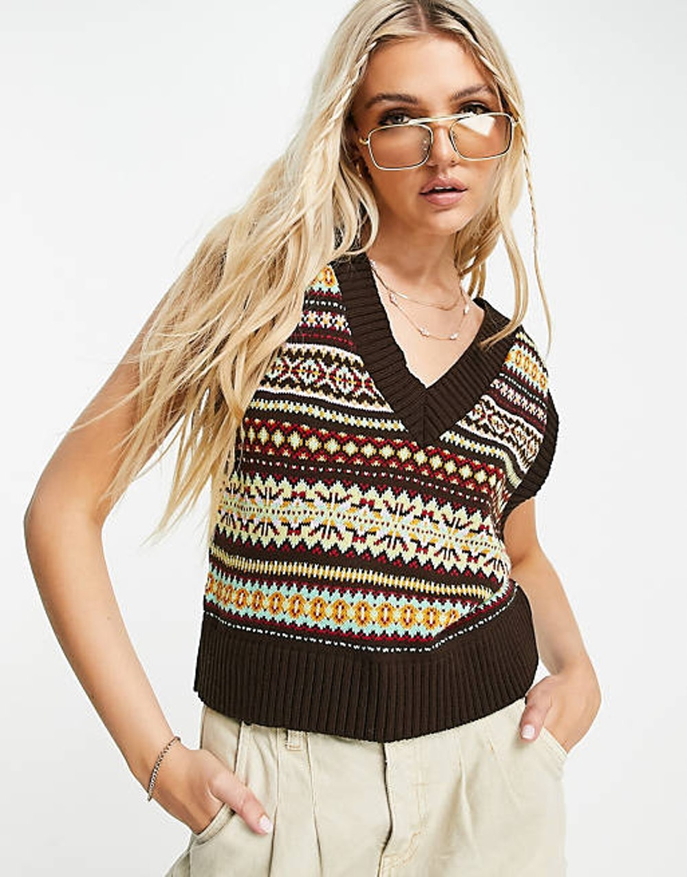 ASOS Design Knitted Vest with Fairisle Pattern