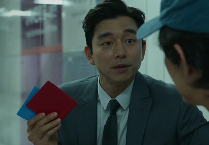 Gong Yoo's character plays a game in 'Squid Game.'