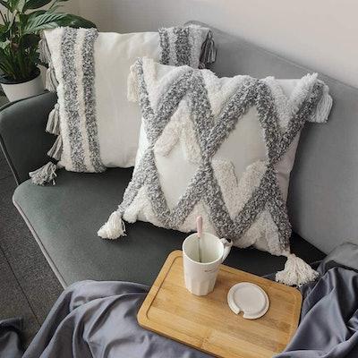 TINYSUN White Grey Decorative Throw Pillow Cover (2-Pack)