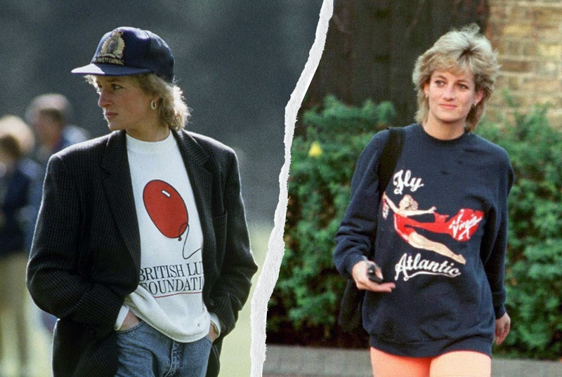 Princess Diana's bike shorts, blazer, and sheep sweater looks are still influential today. Shop her ...