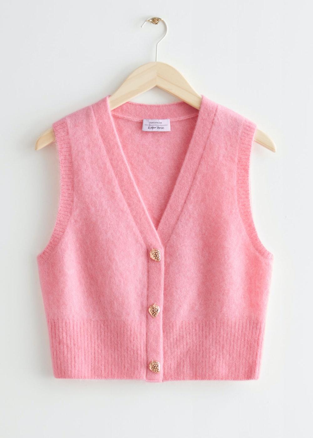 Strawberry Button Knit Vest