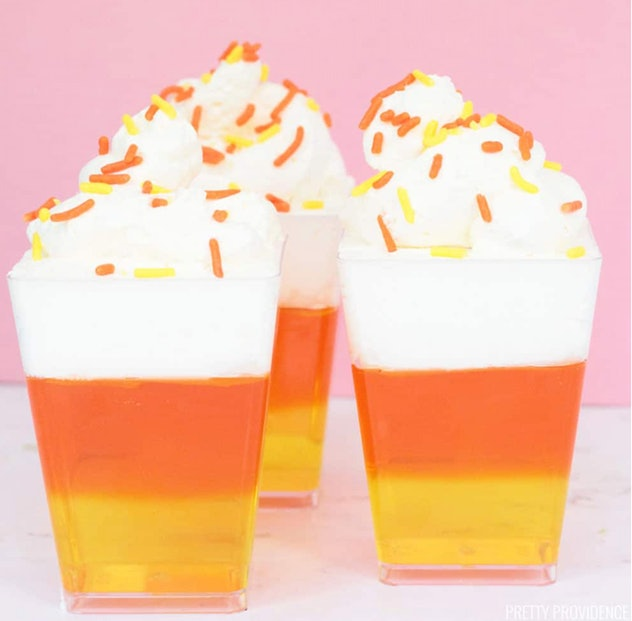 Candy corn Jell-O cups are an easy Halloween treat for babies.