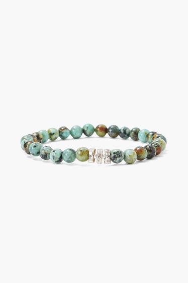 African Turquoise And Etched Silver Stretch Bracelet Chan Luu