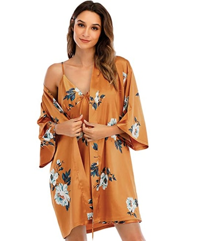 Escalier Satin Robe and Nightgown Set