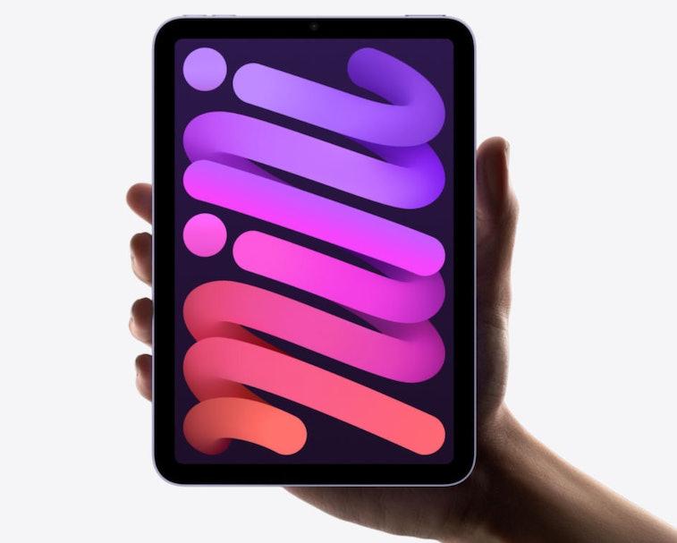 Apple promo image of hand holding up iPad mini