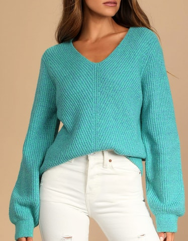 Teal Multi Knit V-Neck Sweater