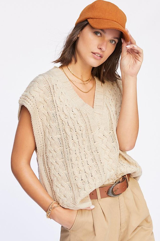Lea & Viola Cable Knit Sweater vest, $98