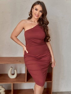 Plus Ruched One Shoulder Bodycon Dress
