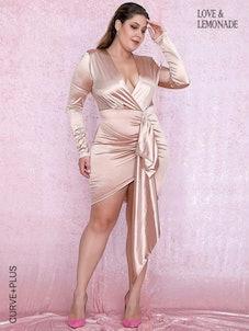 LOVE&LEMONADE Plus Plunging Neck Draped Detail Satin Dress