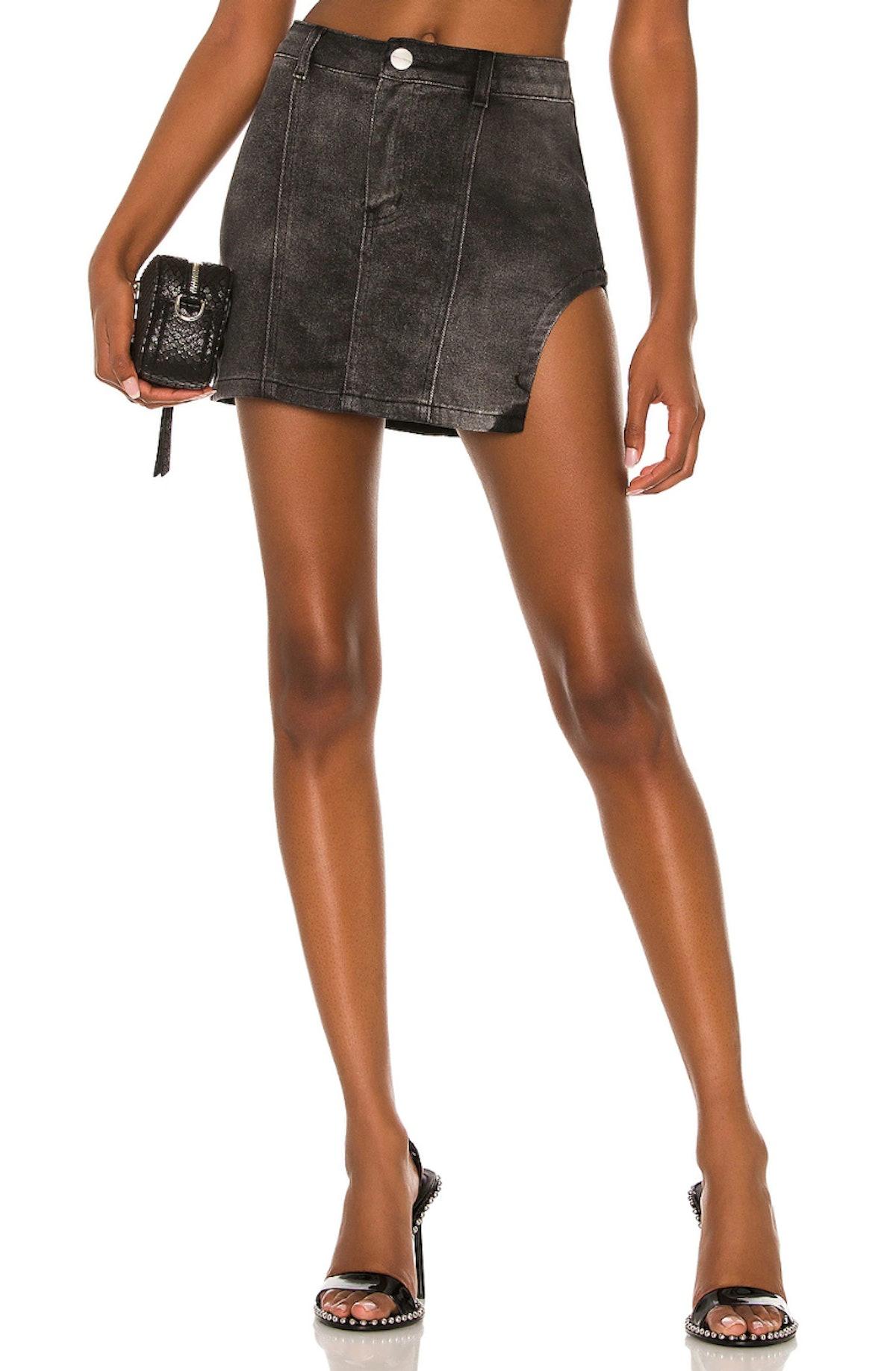 Superdown Abby Slit Mini Skirt Denim